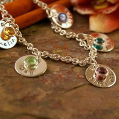 Hand Stamped Mommy Bracelet - Personalized Sterling Silver Toggle Bracelet - All my five with birthstone