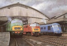 """""""The New Image Takes Over at Bristol Temple Meads."""" Stunning artwork by Mike Turner. Warship, Western and Pullman. Diesel Locomotive, Electric Locomotive, Bristol London, High Speed Rail, British Rail, Steam Engine, Electric Train, Train Tickets, Diesel Engine"""