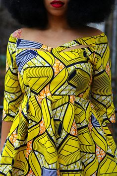 ZARIAH - Yellow Waves African Print Dress SALE Ready to ship in about 3-5 business days from Brooklyn, NY. Next day processing is available ( fees will apply). Please inquire if needed. DRESS DETAILS: off the shoulder wide neckline with cut out design circle skirt bottom 3/4 sleeves