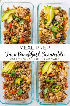 This Taco Breakfast Scramble is the perfect easy recipe to spice up your meal prep game! This recipe is compliant, low carb and the mix of flavors will have you making this on repeat! Healthy Breakfast Meal Prep, Easy Healthy Meal Prep, Paleo Meal Prep, Healthy Low Carb Recipes, Clean Recipes, Whole Food Recipes, Easy Meals, Meal Prep Low Carb, Eating Healthy