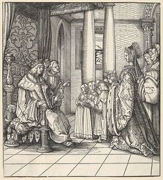 Artist: Hans Burgkmair (German, Augsburg 1473–1531 Augsburg) Engraver: Jost de Negker (1480–1546) The White King Receiving His Daughter Margaret and the Children of King Philip, from Der Weisskunig