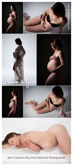 Tattoos can be important features in maternity photography- they can reveal aspects of your inner self while you reveal aspects of your changing body and transforming life. Nude and boudoir shots can combine to form an intimate set of studio portraits. Modern maternity photography by Anna Myers, San Francisco Bay Area photographer. #annamyersphotography #maternityphotography