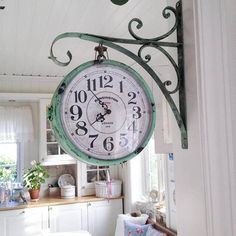 Vintage Hanging Pharmacy Clock in Weathered Copper {wineglasswriter.com/}