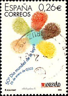 Spain.  WORLD LEPROSY DAY, 50th ANNIVERSARY.  Scott  3199 A1173, Issued 2003 Jan 21,  26 . /ldb.