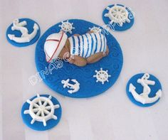 Sailor Nautical Baby Cake Topper Baby Shower Favor decorations. $30.00, via Etsy.