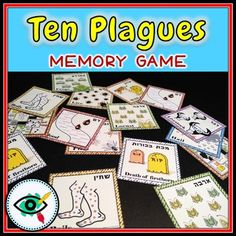 The ten plagues memory game Distance Learning by Planerium Plagues Of Egypt, 10 Plagues, Egypt Games, Jewish Crafts, Class Decoration, Square Card, Memory Games, Bible Crafts, Sunday School