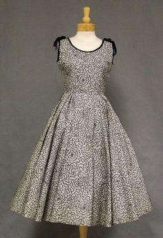 Flocked Striped Taffeta 1950s Cocktail Dress