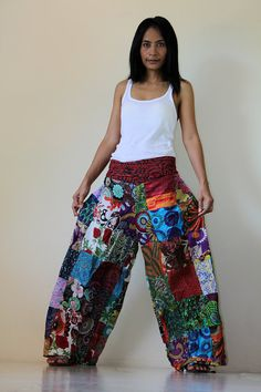Wide Leg Pants Boho Patchwork   Boho Patchwork Pants by Nuichan, $49.00