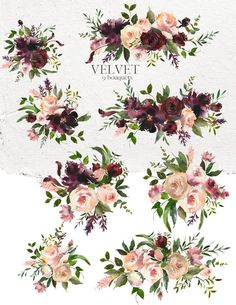 Trendy Ideas for flowers png burgundy Floral Bouquets, Floral Flowers, Burgundy Flowers, Watercolor Illustration, Watercolor Flowers, Flower Girl Photos, Bouquet Tattoo, Wedding Clip, Flower Logo
