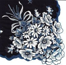Burmel Handkerchief of the Month as See in Vogue Navy Blue with Flowers