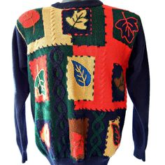 Fall Patchwork Sweater Autumn Leaves Pullover by EclecticVintager