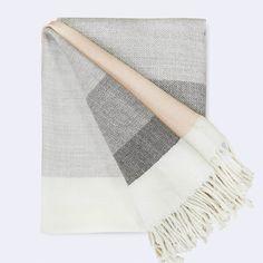 Alpaca Wool Blanket   Peach & Grey Stripes – The Citizenry