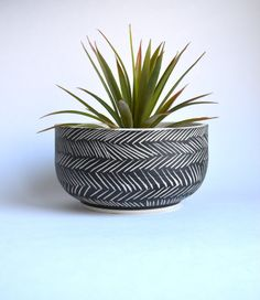 Wheel thrown and hand carved ceramic planter measuring about 6X3 inches. Planter does not include a drain hole for indoor use. Can be made to order with a