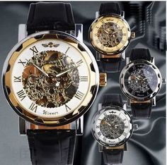 Luxury Brand Men Skeleton Watches Stainless Steel Mechanical Hand Wind Skeleton Leather Strap Self-Wind Watch Military Watches