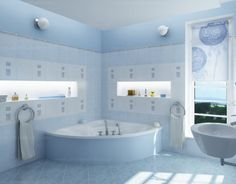 Baby Blue Bathroom Interior