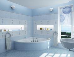 Baby Blue Bathroom Interior