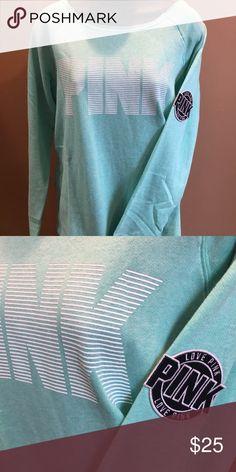 PINK Love Pink mint green light weight sweatshirt PINK Victoria's Secret Tops Sweatshirts & Hoodies