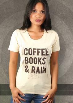 Coffee, Books & Rain T-Shirt von Kater Likoli, Mannheim, Deutschland | Design by Lukas Likoli $19.95