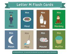 Free Printable Letter M Flash Cards English Fun, English Lessons, Learn English, English Language, Kindergarten Syllabus, Kindergarten Language Arts, Vocabulary Flash Cards, Vocabulary Activities, Learning English For Kids
