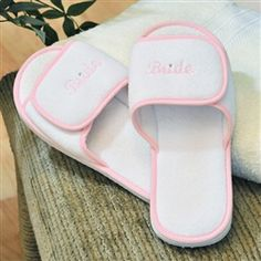 Terry Cloth Bride Spa Slippers! somebody better get me something like this WHEN that day comes.:) As much as I loooove my slippers! Lol:)