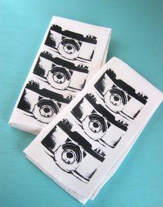 Fabric camera napkins set of 4 black and white cloth napkins screen printed housewares