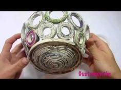 How to make newspaper basket with top - YouTube