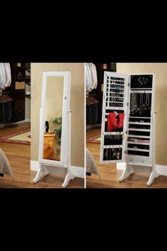 You can try your jewelry then close the cabinet and look at yourself! It's a brilliant idea for a women or a girls room