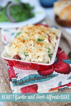 Hearty Garlic and Herb Alfredo Bake - uses Kraft Mac and Cheese
