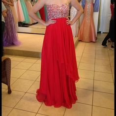 "Strapless Red Beaded Prom Dress Beautiful beading, only worn once! Hemmed to my height (5'6"") wearing flats. Willing to negotiate the price a bit! Alyce Paris Dresses Strapless"