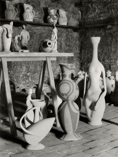 Picasso's Studio (Atelier) in a Madoura Vallauris, France (1949.) Photo by Herbert List