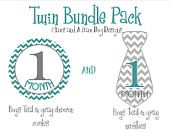 Monthly onesie stickers- Twin Boys Bundle Pack-Boys matching chevron circles and neckties- perfect baby shower gift. $17.00, via Etsy.