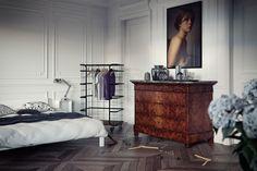 Sensational Chic Parisian Interior Home : Parisian Bedroom Decoration White Bed Wooden Floor Simple Bedroom Design Parisian Bedroom, Parisian Apartment, Paris Apartments, French Apartment, Parisian Chic, Home Bedroom, Bedroom Decor, Bedrooms, Simple Bedroom Design