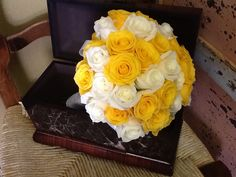 Yellow and White Roses Bridal Bouquet by Tustin Florist