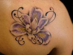 Unique Right Back Shoulder Orchid Tattoo