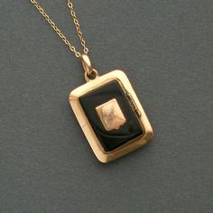Antique Victorian Locket Shield & Onyx by TheDeeps on Etsy, $120.00