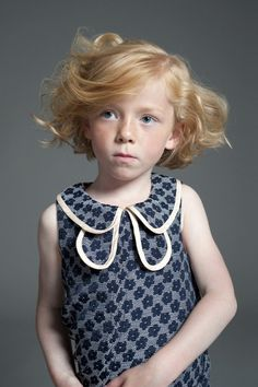 Cute double collar detail dress from Hucklebones fall / winter 2013 kids fashion collection