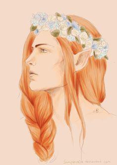 """""""Maedhros + Flower Crown"""" by Sempern0x on DeviantArt. (fantasy art, JRR Tolkien, elf)"""