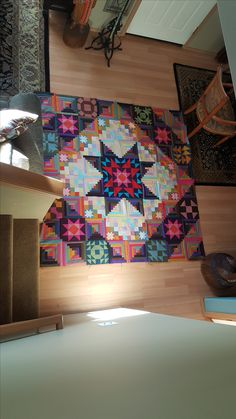I made this Amish quilt to practice different patterns.  It's huge and I need to quilt it.