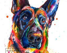 Bright and colorful German Shepherd art, print of my original watercolor painting