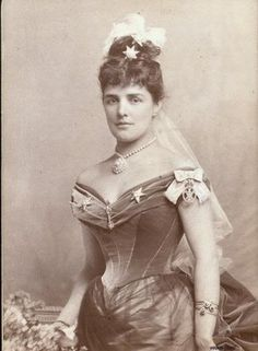 """Jeanette """"Jennie"""" Jerome (1854-1921) was one of three pretty daughters of financier Leonard Jerome and his wife Clara. She married Lord Randolph Churchill, second son of the Duke of Marlborough. She had two children, Winston Churchill, the future prime minister, and John. She had many affairs during her marriage, including with King Edward VII. After her husband died, she married a man as young as her sons, which was very shocking for the time. She subsequently married an even younger man."""