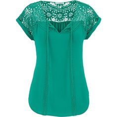 maurices Chiffon Top With Open Crochet (195 DKK) ❤ liked on Polyvore featuring tops, shirts, palm green, layered tops, chiffon sleeve top, chiffon shirt, green v neck shirt and green top