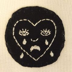 Hand-Embroidered Crying Heart Patch