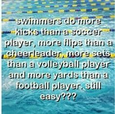 Swimming is a love/hate sport.  Every second of every practice the words 'I hate this' will be thought. Yet as soon as you have to sit out one practice all you want to do is jump in the water and SWIM
