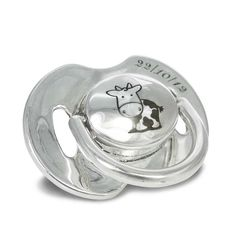 """Baby pacifier coated with pure silver 999° with a little """"cartoon"""" cow and a date on it. By Shine4ever.gr"""