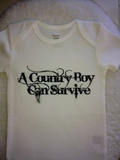 White A Country Boy Can Survive Baby Onesie | MissPhiesBoutique - Clothing on ArtFire