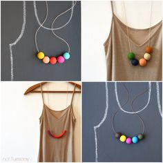 Bright Handmade Polymer Clay Necklaces by not Tuesday