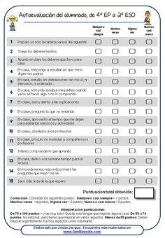 material para la autoevaluación del alumnado, desde 4 de primaria a secundaria
