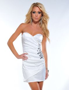 Image detail for -comes to short white dresses, this sassy Jeweled Strapless Mini Dress ...