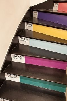 I love this!! Can't do it in my home, but I LOVE it!! Pantone staircase via BuzzFeed. What every graphic designer needs!