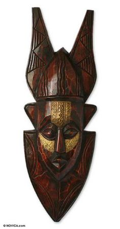 Akan wood mask, 'True and Faithful' by NOVICA